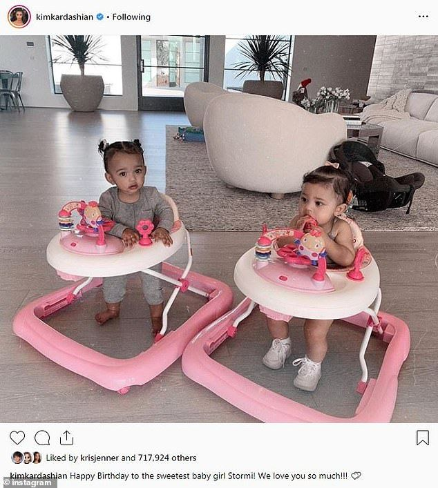 Two cute Kim Kardashian shared an image of Stormi with her daughter Chicago at home