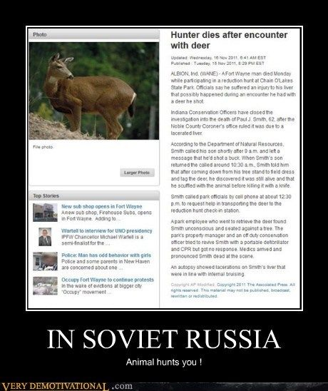 deer hilarious hunter russia soviet