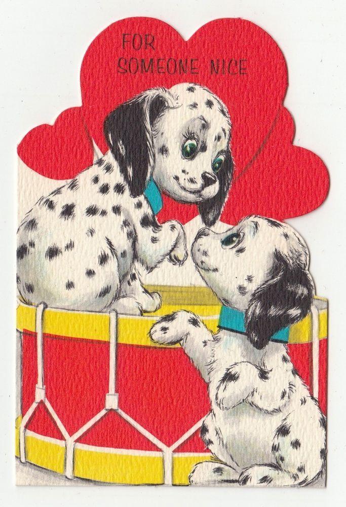 Vintage Greeting Card Valentine s Dalmation Dog Drum Die Cut Hallmark