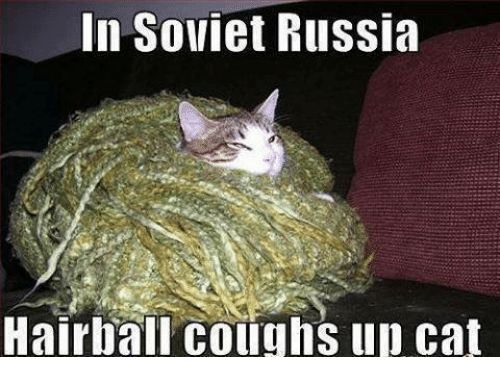 Memes Russia and Soviet In Soviet Russia Hairball coughs up cat