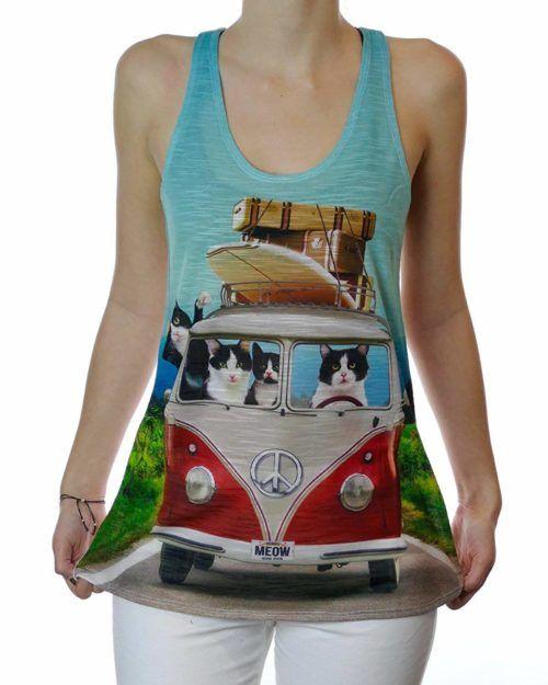 funny cat tank top roadtrip vw van