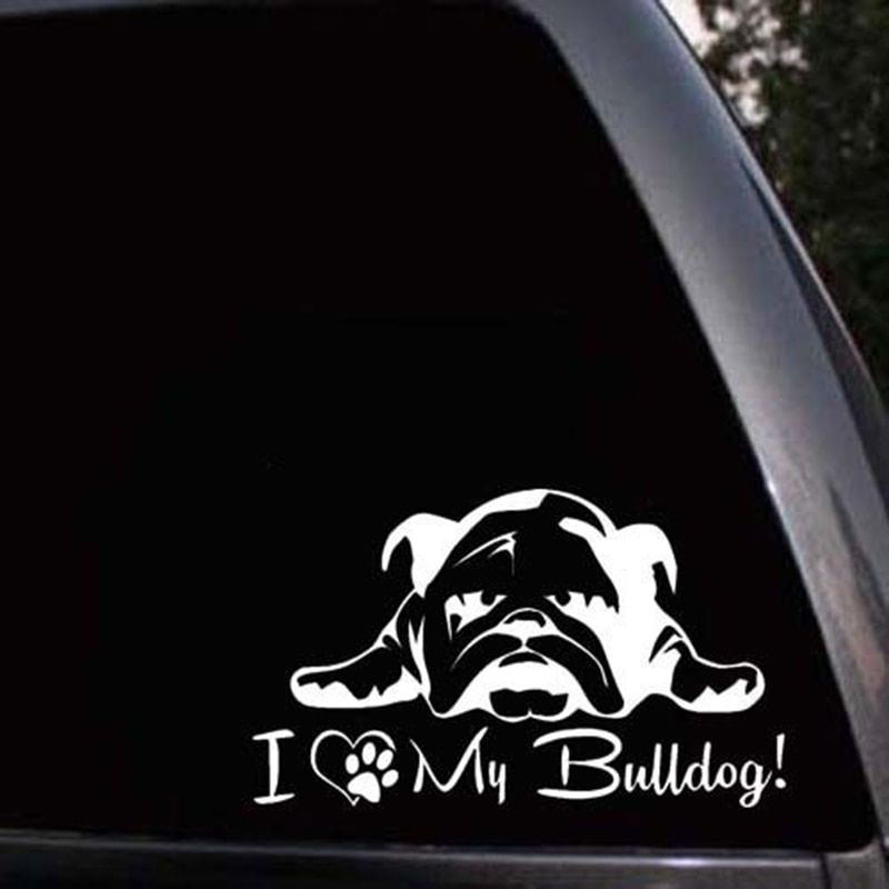Car Styling For English French Bulldog Pet Dog Paws Love Hearts Car Window Laptop Decal Sticker in Car Stickers from Automobiles & Motorcycles on
