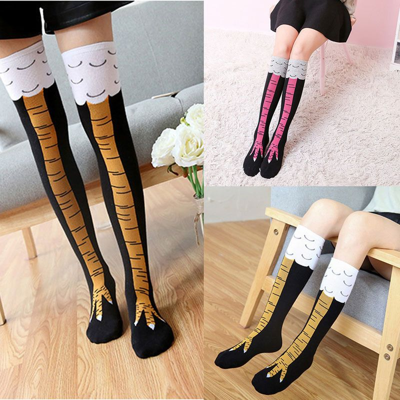 Dropwow Hot Funny 3D Chicken High Socking Creative Cartoon Animals Thigh Womens Mens Pink Black
