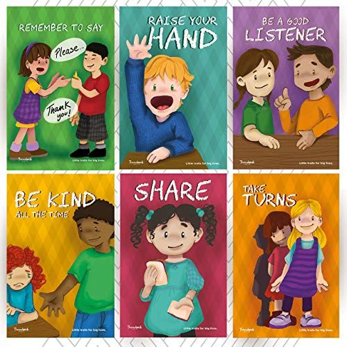Throwback Traits Six Educational Preschool Daycare Posters for Toddlers and Kids in Kindergarten Great