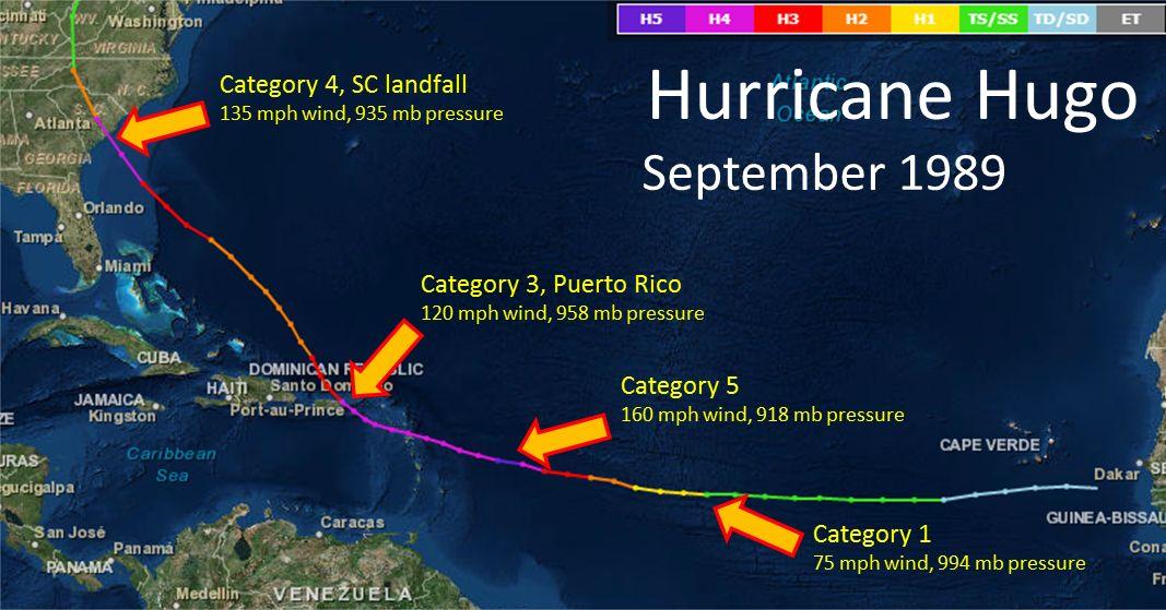 Hurricane Hugo s track September 1989