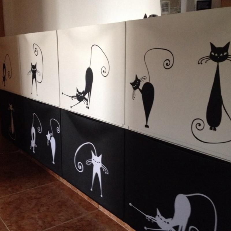 5 Black & White Cats Cute Wall Decal