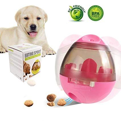 ABC Pet Food Ball FUN and INTERACTIVE Treat dispensing Ball for Dogs & Cats Increases IQ and MENTAL stimulation BEST alternative to Bowl Feeding Easy