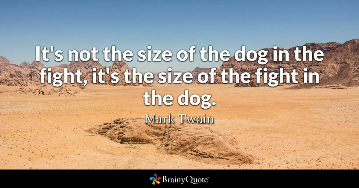Quote It s not the size of the dog in the fight it s the size of the