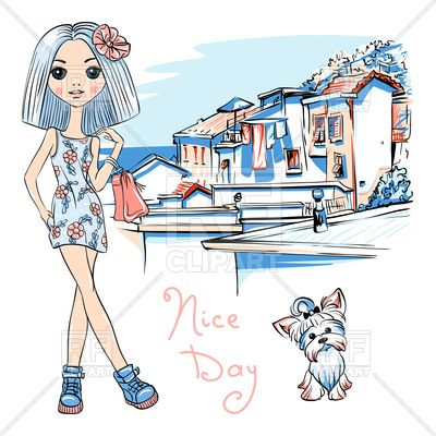 Cute beautiful fashion girl and cute dog in Italy Vector Image – Vector Illustration of People