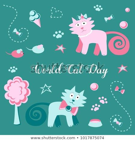 An illustration on a holiday theme National Cat Day Funny drawing in children s