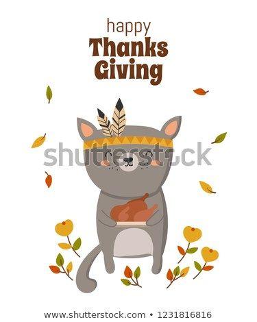 Happy Thanksgiving greeting card poster or flyer for holiday Funny cat holding delicious