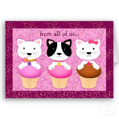 Funny Kittens on Cupcakes Birthday Card A fun and delightful birthday card for any kid Bright colors and three adorable cut kittens with their paws on the