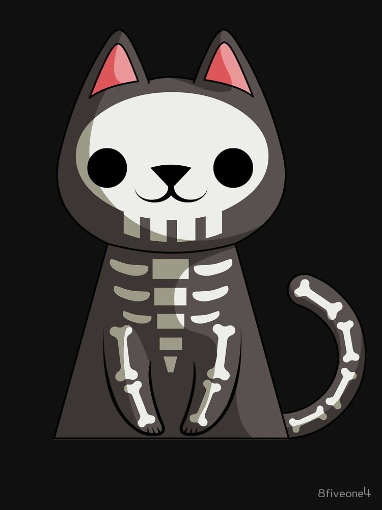 Cute Cat Skeleton Halloween Funny Halloween Gift by 8fiveone4