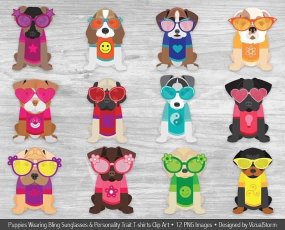 Cute Puppy Clip Art Illustrations of puppies wearing sunglasses and clothes puppyclipart cutepuppies summerclipart beachclipart puppyillustration