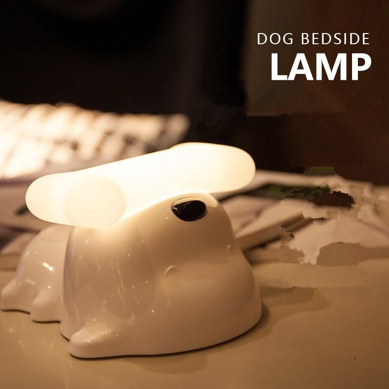 2019 Cute Puppy Love Dog Bedside Lamp Portable Doggie Dimmable Touch Sensor Desktop Lamp For Baby Kids Bedroom Dog & Bone LED Cartoon Night Light From