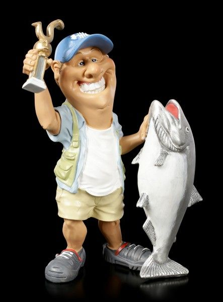 Funny Sports Figurine Fisherman with Trophy
