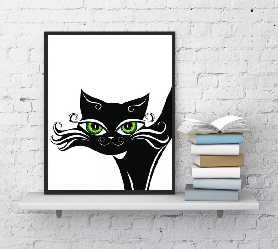 Cat print Beautiful Black cat Cat wall art Baby Nursery Sly cat Funny cats Cat print Cat portrait Painting Art Instant