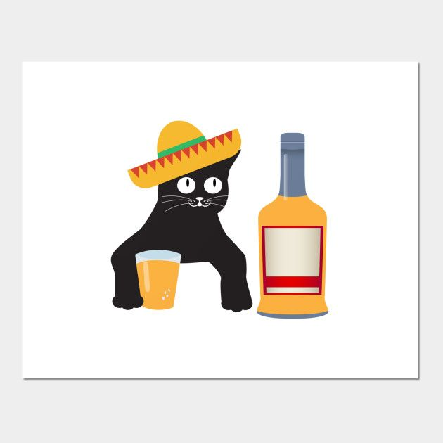 Cat Drinking Wine Beer Funny Pet Animal Posters and Art Prints