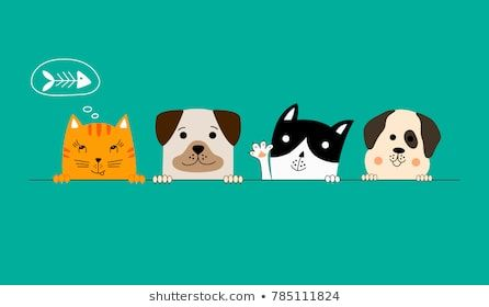 Funny dog and cute cat best friends Happy friendship day Vector illustration