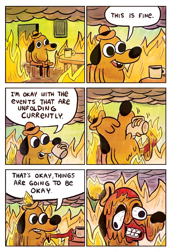 Original web ic of the anthropomorphic dog in a house that is on fire and stating that