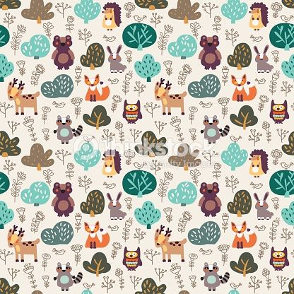 Funny animal seamless pattern made of wild animals in forest