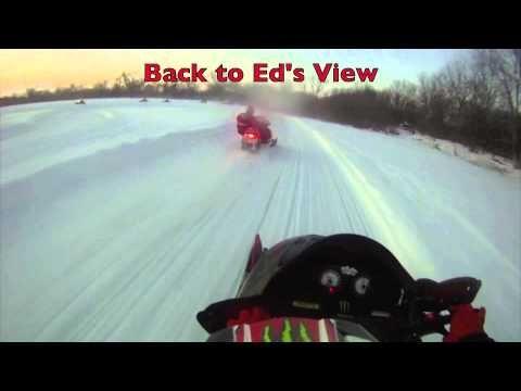 Polaris & 2 Arctic Cat Snowmobiles Lakecross Practicing Helmet Cams Funny & Exciting