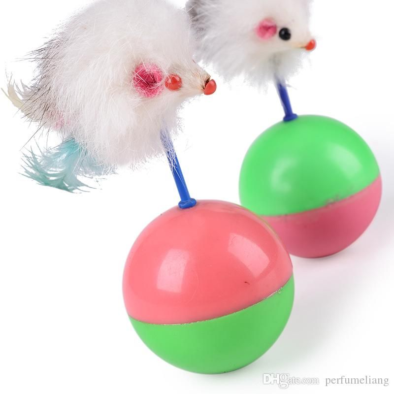 Durable Pet Cat Toys Mimi Favorite fur Mouse Tumbler Plastic Toys Balls for Cats dogs play