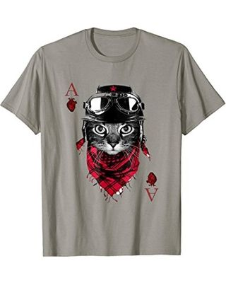 Funny Poker Shirts Ace Cat Playing Poker Cards T Shirt