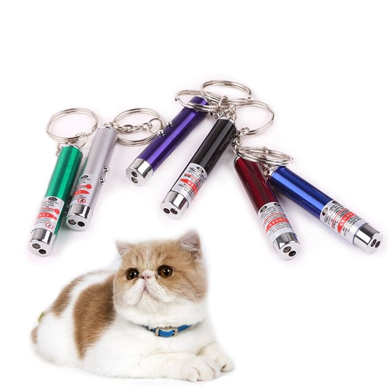 Hot Sale Pets funny cat stick Laser Cool New 2in1 Laser Pointer Pen With Red LED White Light Set Children Toy Cat
