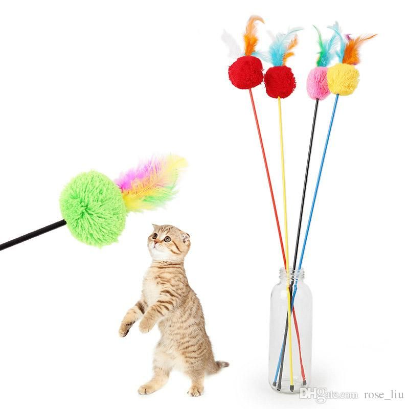 55CM Cat Teaser Cute Design Bird Feather Cats Funny Toy Toughness With Colorful Bells Pet Supplies Wand For Kitten Play B Go Cat Toys Good Cat Toys From