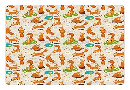 Ambesonne Yoga Pet Mat for Food and Water Flexing and Stretching Fox Meditation Cute Little