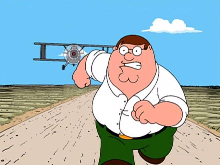 Peter Griffin running away Meme Template