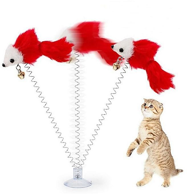 Generic Funny Pet Cat Toys Kitten Play Toy Feather False Mouse Bottom Sucker Cat Teaser Funny Mice Playing Toy For Pet Kitten Style Color Random