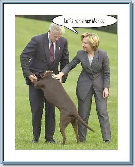 Bill Clinton Hillary Clinton dog funny Monica caption