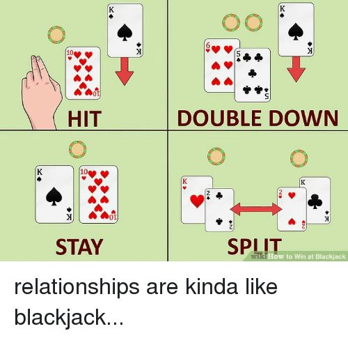 Funny Relationships and Blackjack HIT DOUBLE DOWN 2 0D STAY SPLIT ow to