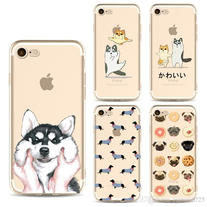 For Iphone X Cases Cute Cartoon TPU Painted Dogs Ultrathin Silicone Back Protective Cover Shell For Iphone 6S 7 8 Plus 5S Samsung S8 S9 Plus Cool Phone