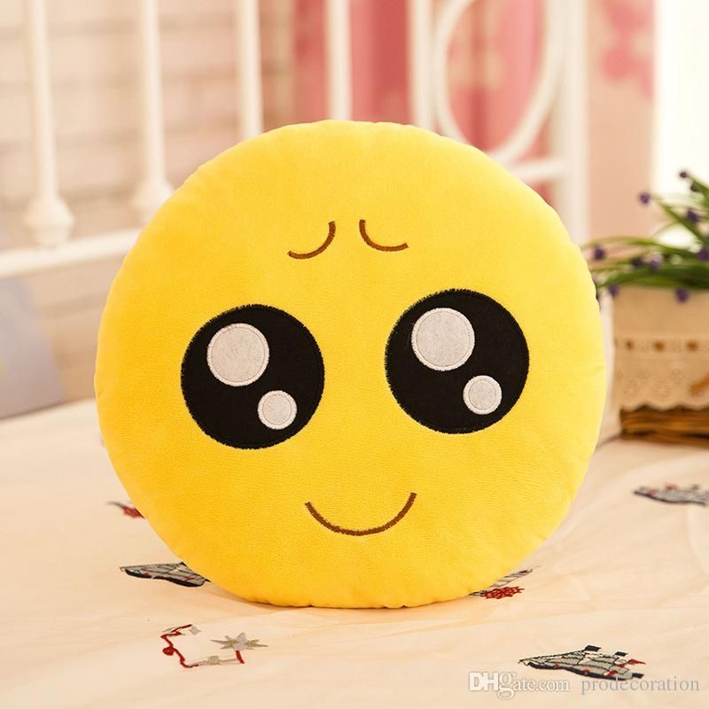 BeddingOutlet Cute Emoji Cushion Home Smiley Face Pillow Stuffed Toy Soft Plush For Sofa Car Seat Diameter 30cm Funny Cushion Patio Furniture Replacement
