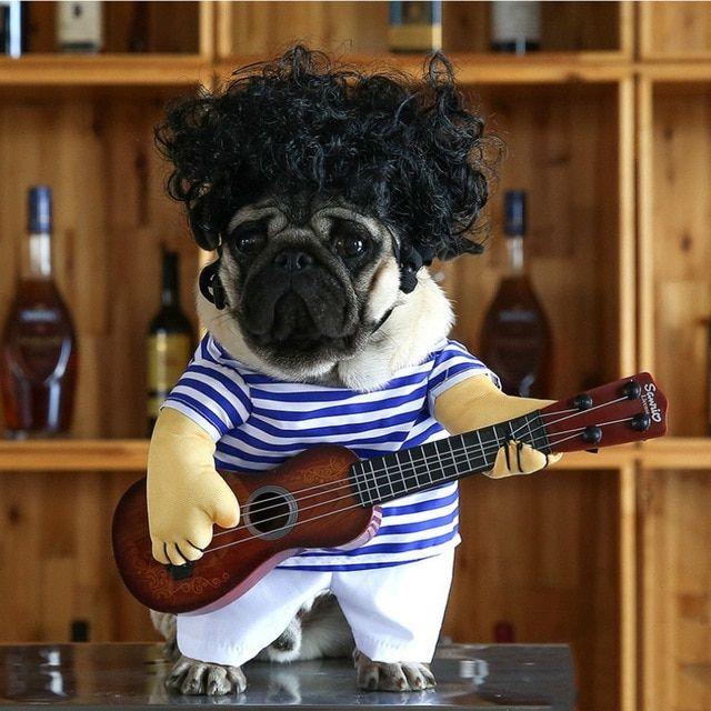 Cute Funny Pet Guitar Clothes Cat Dog Guitarist Dressing Costume Pet Guitar Dress Cosplay Perform Clothing Pet Products