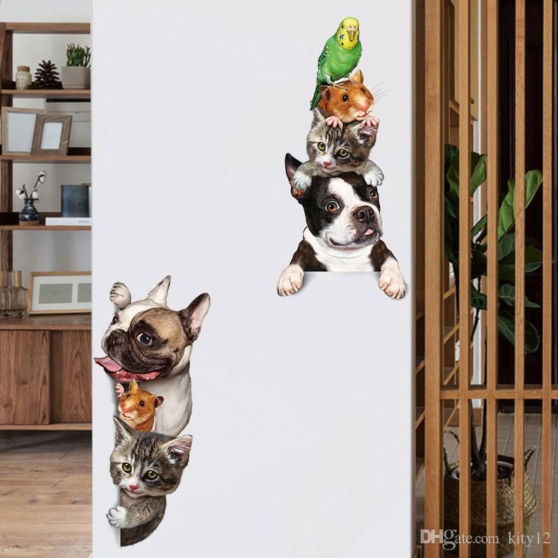 Funny 3D Cat Dog Door wall stickers kids rooms living room home decor background Art decals