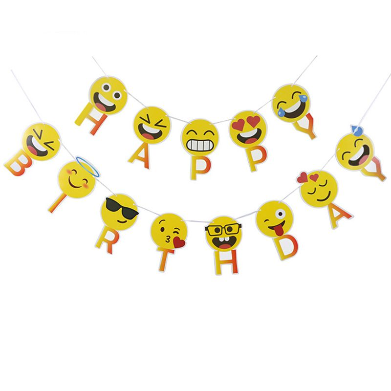 Smile Kiss Cry Funny Emoji Happy Birthday Banners Hanging Garlands Buntings Birthday Flags for Kids Birthday Party Decoration