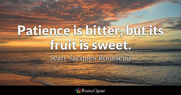 Patience is bitter but its fruit is sweet Jean Jacques Rousseau