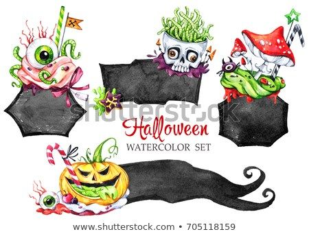 Halloween holiday collection Funny food Magic symbol of horror Childish stickers Can be use in holidays design posters invitations