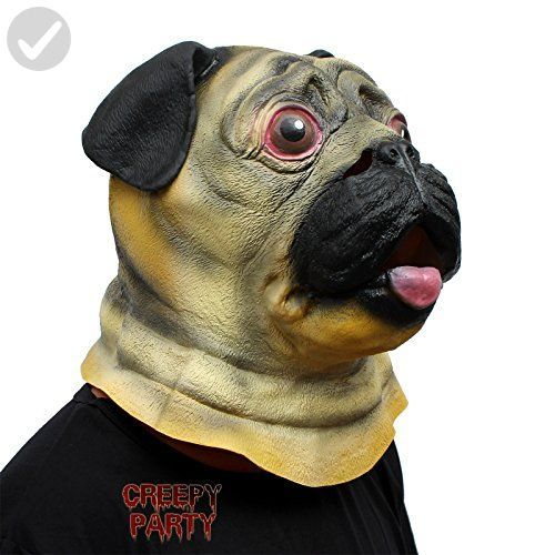 CreepyParty Deluxe Novelty Halloween Costume Party Latex Animal Head Mask Pug Dog Fun stuff and t ideas Amazon Partner Link
