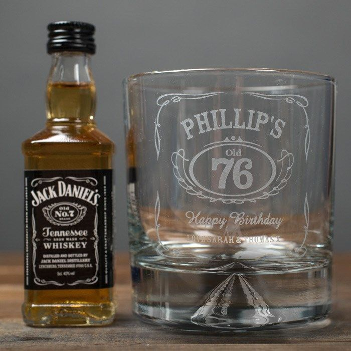 Personalised Whisky Tumbler With Jack Daniels Miniature