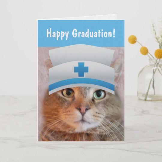 funny nurse cat graduation card r6fba854d ad em0cq 540