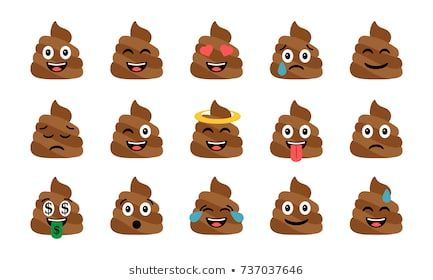 Cute funny poop set Emotional shit icons Happy emoji emoticons Smiling faces