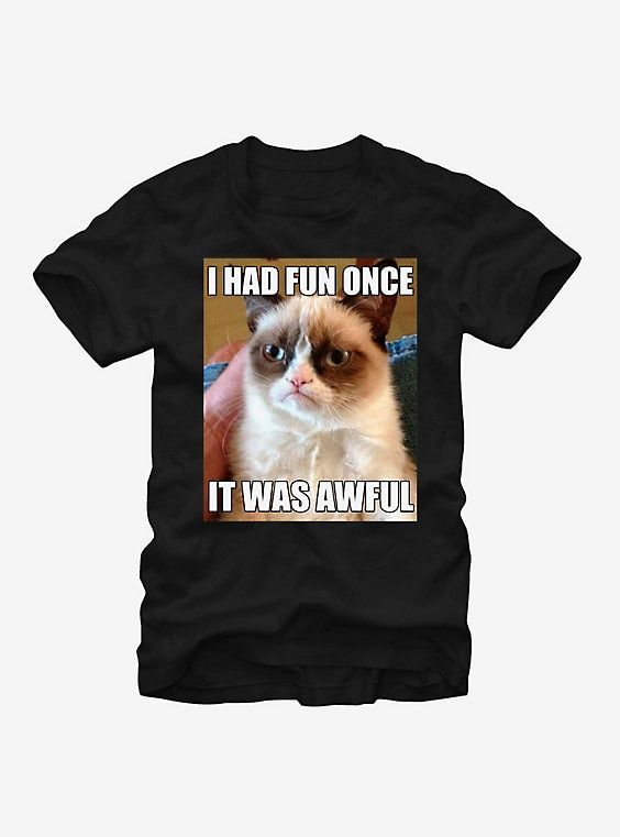 Grumpy Cat Fun T Shirt BLACK hi res