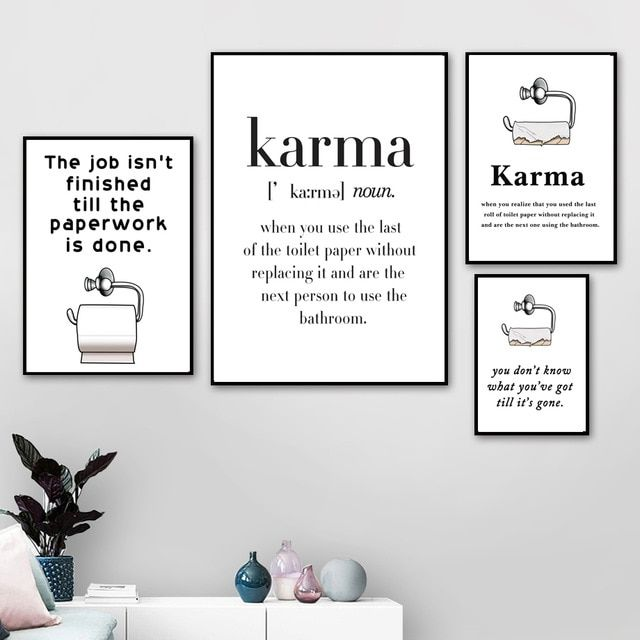 Funny Poster Toilet Paper Karma Nordic Posters And Prints Wall Art Canvas Painting Scandinavian Wall For Bathroom Decor