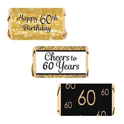DISTINCTIVS 60th Birthday Party Miniatures Candy Bar Wrapper Stickers Gold and Black Set of