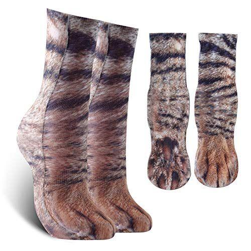 Uni Funny Cat Paw Print Socks for Womens Mens Gift Cat Medium